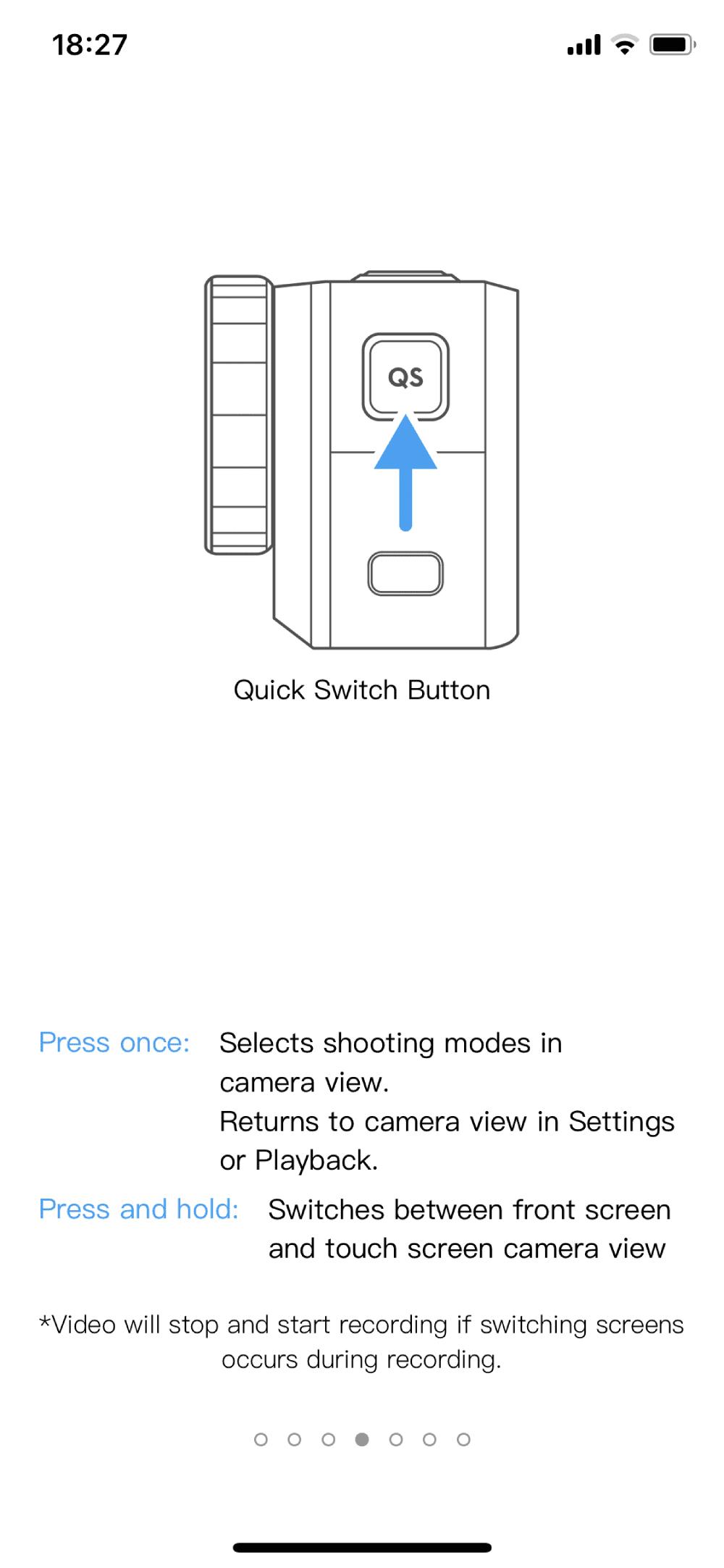 dji osmo action przycisk zmiany ekranu