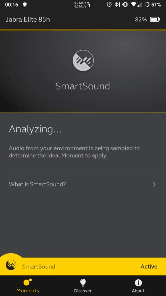 Jabra Elite 85H okno analizy dźwięku SmartSound po uruchomieniu