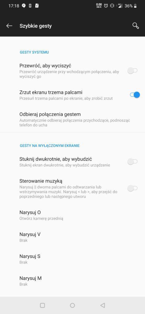 szybkie gesty OnePlus 7Pro