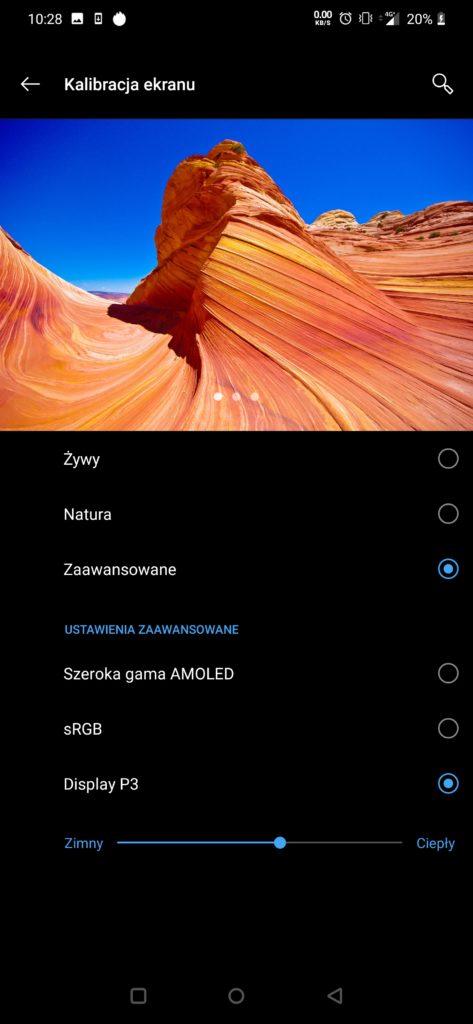 ustawienia ekranu OnePlus 7Pro