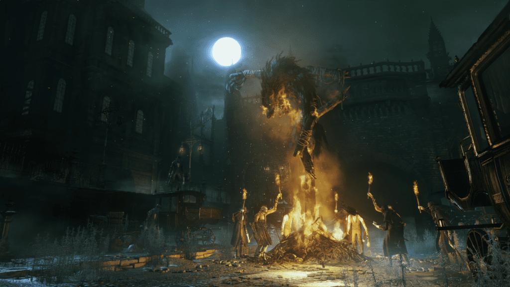 Bloodborne plac płonący wilkołak