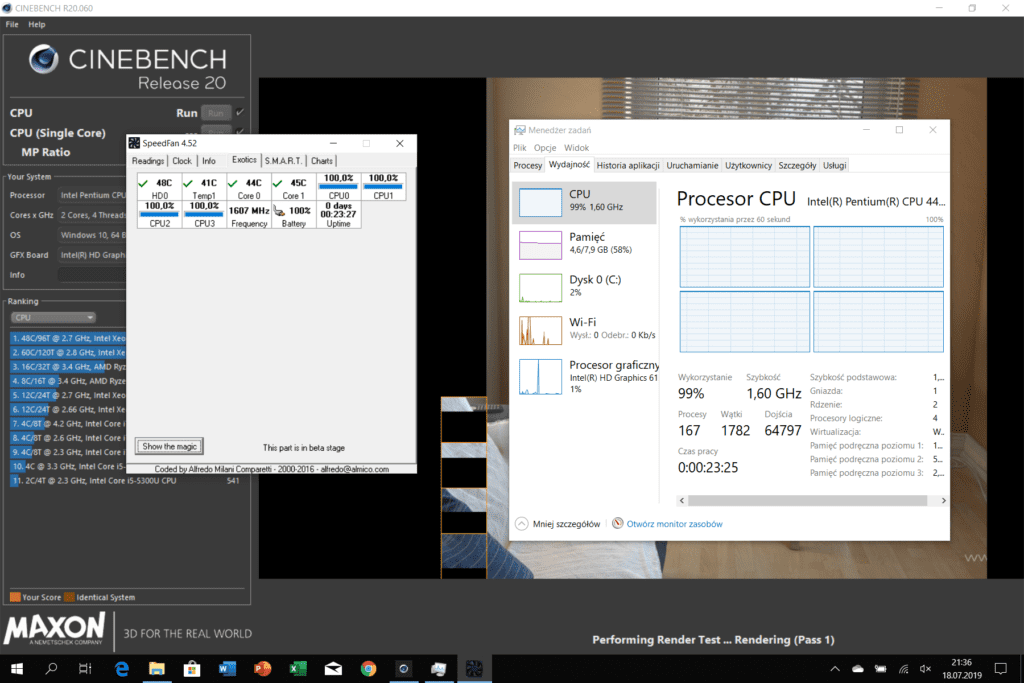 Microsoft Surface Go test Cinebench R20 temperatury