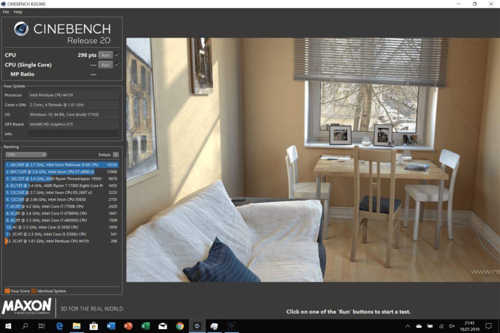 Microsoft Surface Go wynik wydajności