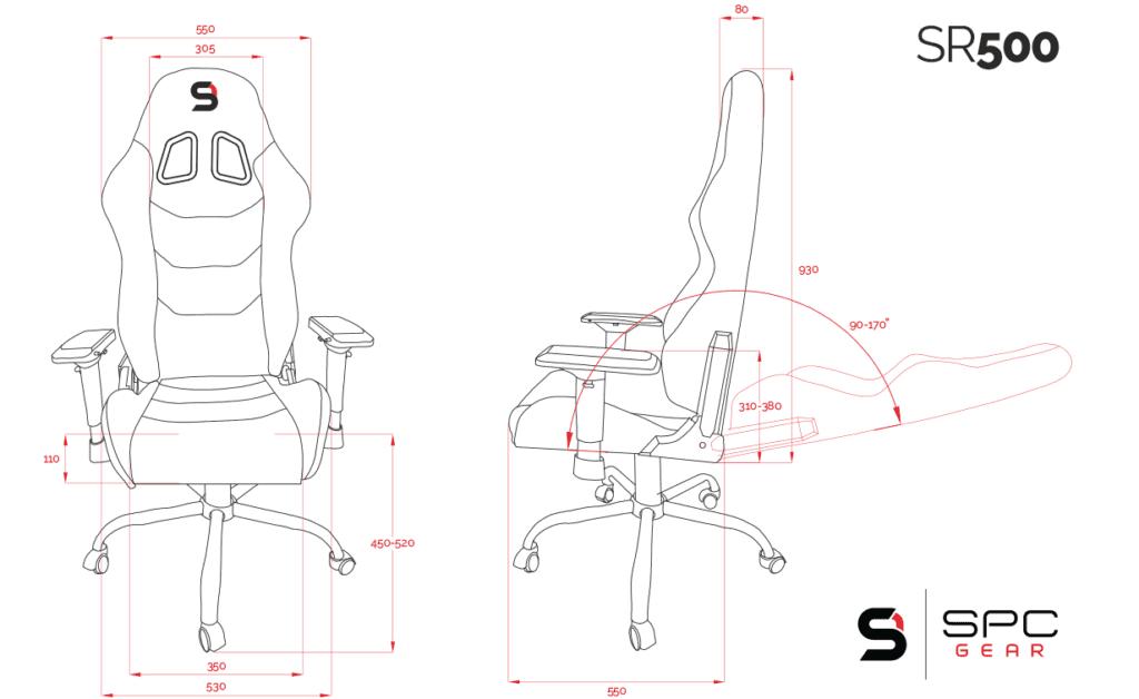 wymiary fotela SR 500