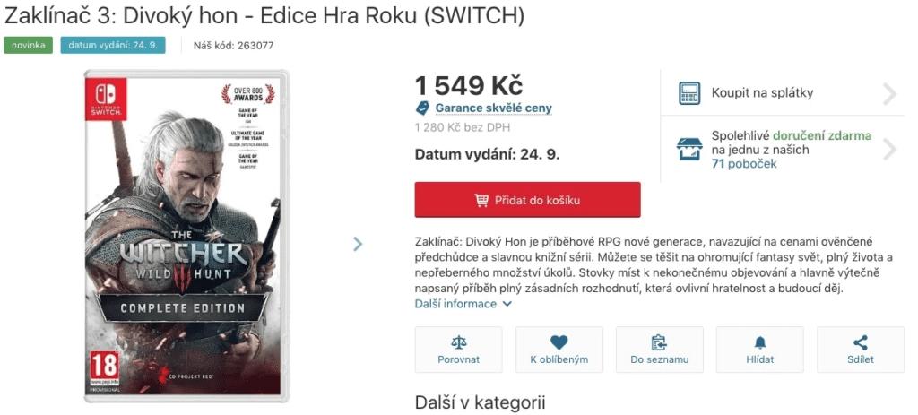 Wiedźmin 3: Dziki Gon na Nintendo Switch we wrześniu 2019