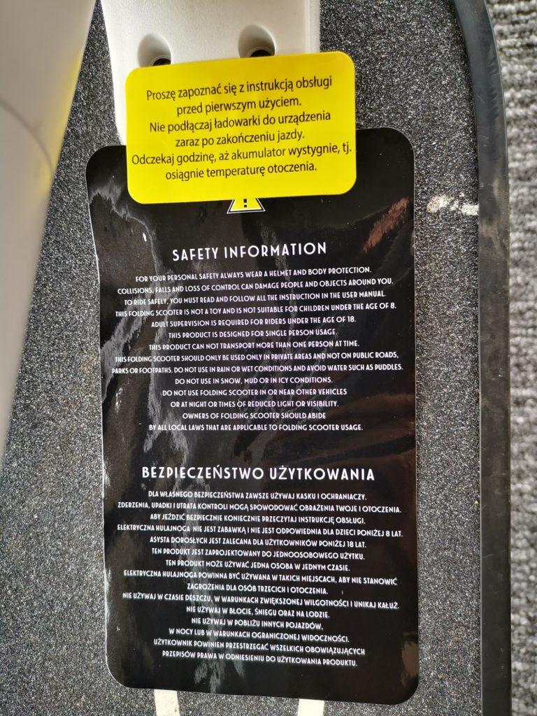 Fiat 500 F85-W ostrzeżenie dla użytkownika