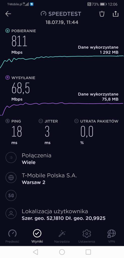 Huawei Mate 20x prędkości transferu danych 5G