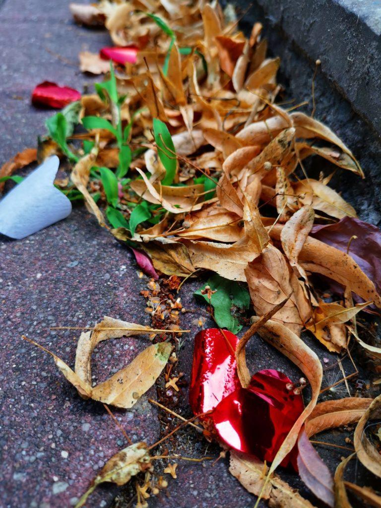 Huawei Mate 20x zdjęcie suche liście i serduszko