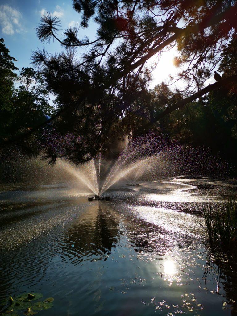 Huawei Mate 20x zdjęcie fontanny pod słońce