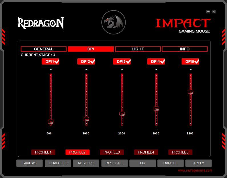 Redragon Impact oprogramowanie zakładka do zmiany DPI