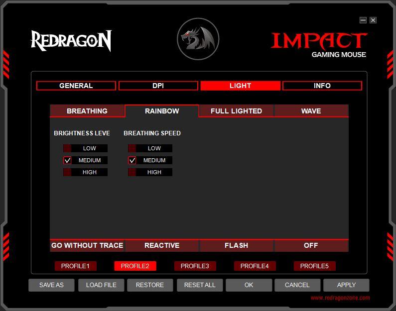 Redragon Impact oprogramowanie zakładka do zmiany podświetlenia