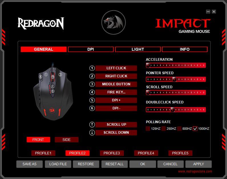 Redragon Impact strona początkowa oprogramowania