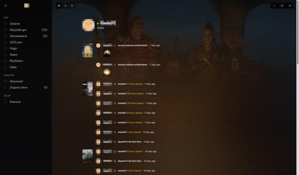 Galaxy 2.0 log aktywności użytkownika
