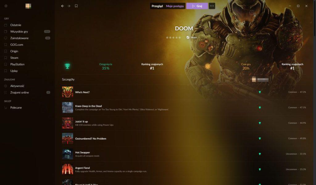 Galaxy 2.0 osiągnięcia w Doom 2016