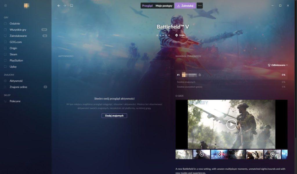 Galaxy 2.0 brak informacji o aktywności gracza w Battlefield 5