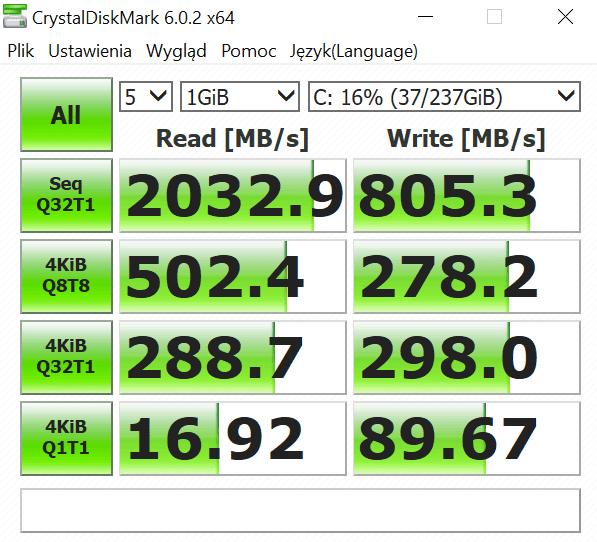 prędkość dysku surface laptop 3
