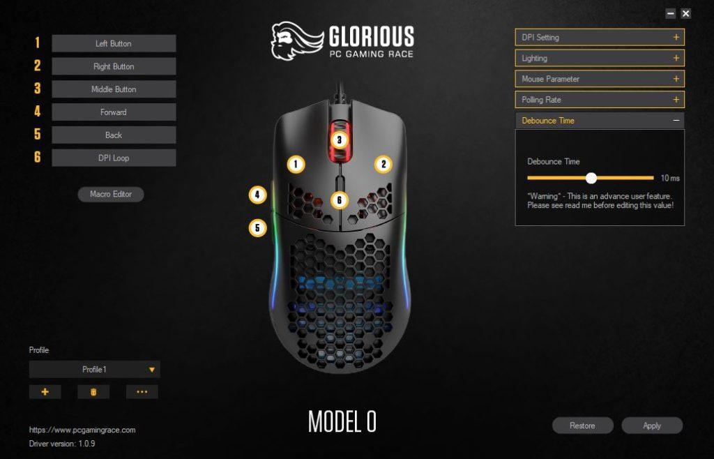 Glorious PC Gaming Race Model O oprogramowanie ustawienie Debounce Time