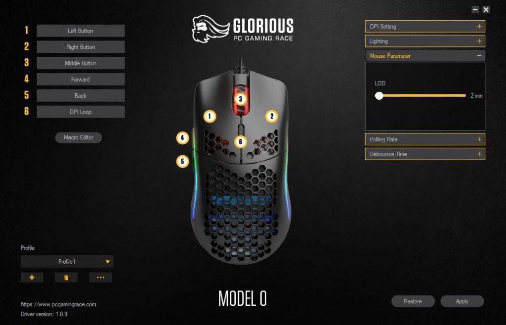 Glorious PC Gaming Race Model O oprogramowanie ustawienie LOD