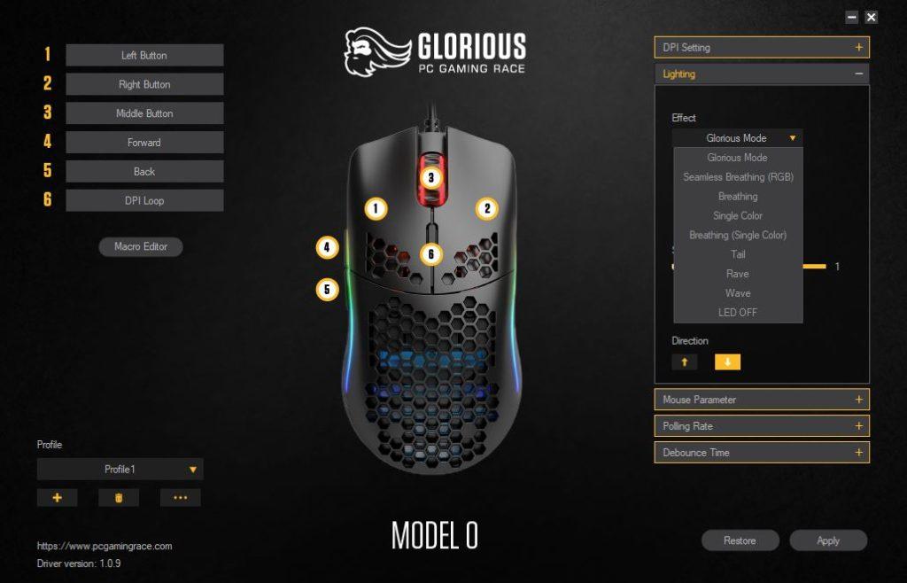 Glorious PC Gaming Race Model O oprogramowanie zmiana podświetlenia myszki