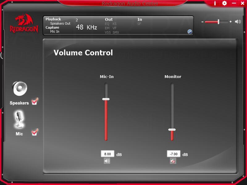 Redragon Zeus strona opcji ustawień mikrofonu