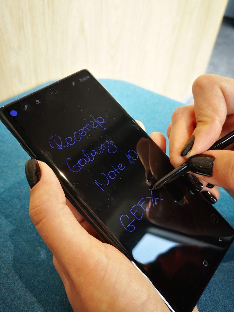 Galaxy Note 10 notatki na ekranie