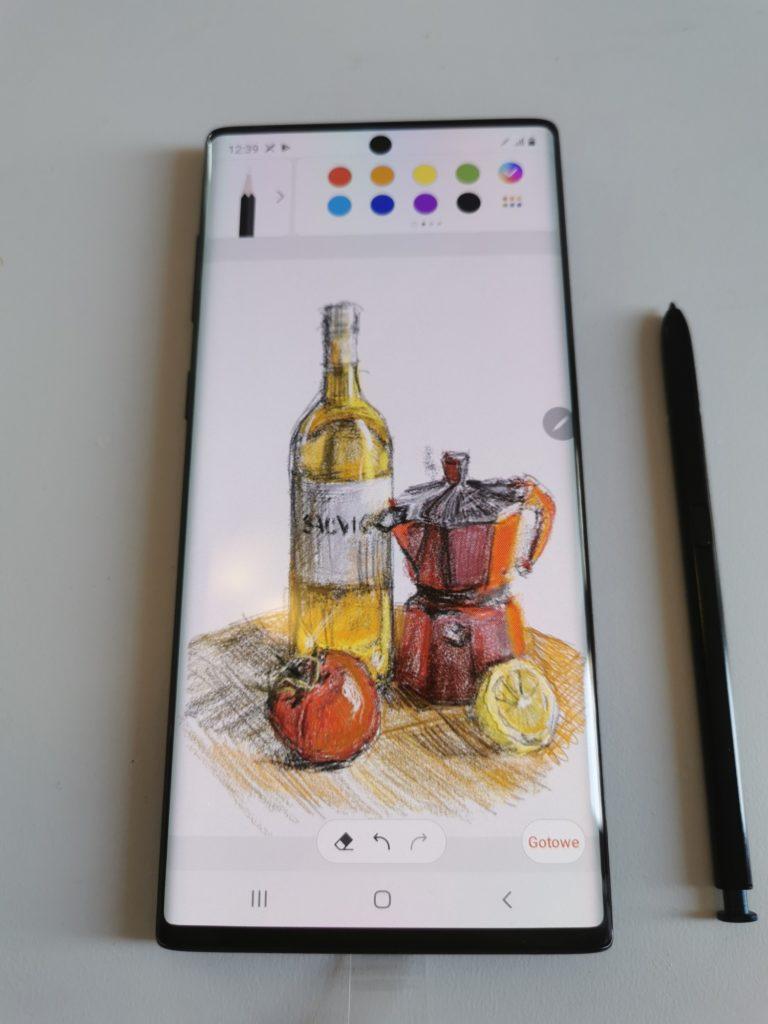 Galaxy Note 10 rysunek na ekranie