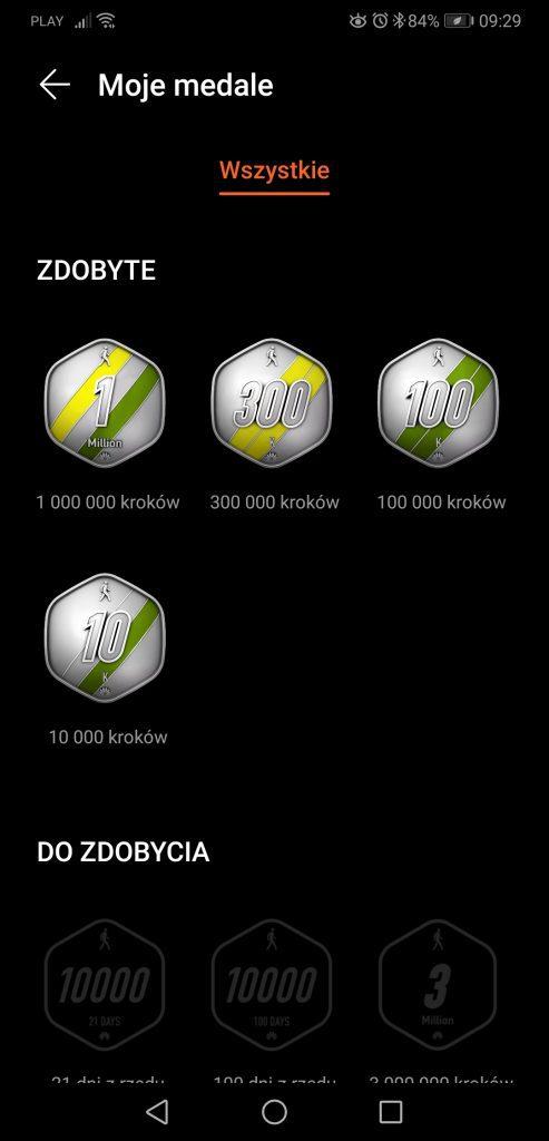 Huawei Zdrowie zdobyte odznaki