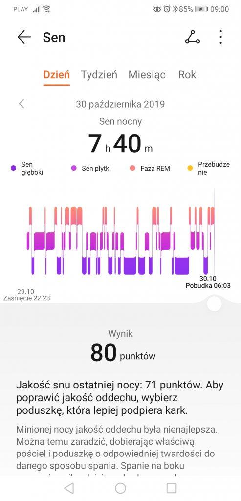 Huawei Zdrowie sen w nocy
