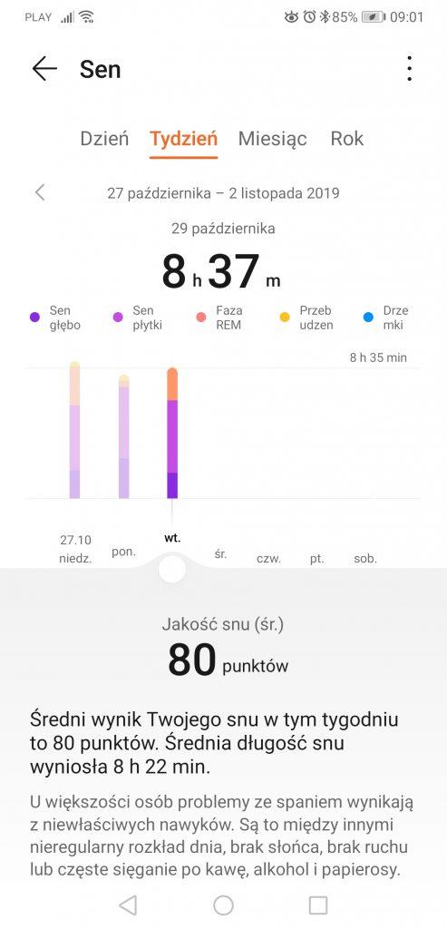 Huawei Zdrowie wykres snu