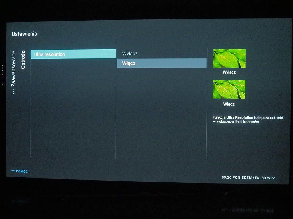 ustawienia jakości obrazu w telewizorze Philips 55OLED854