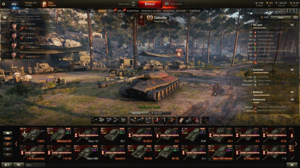 world of tanks screenshot z menu gry