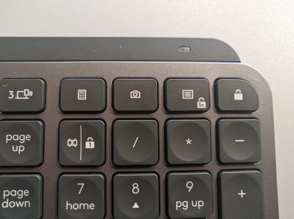 Logitech MX Keys przyciski funkcyjne po prawej stronie klawiatury