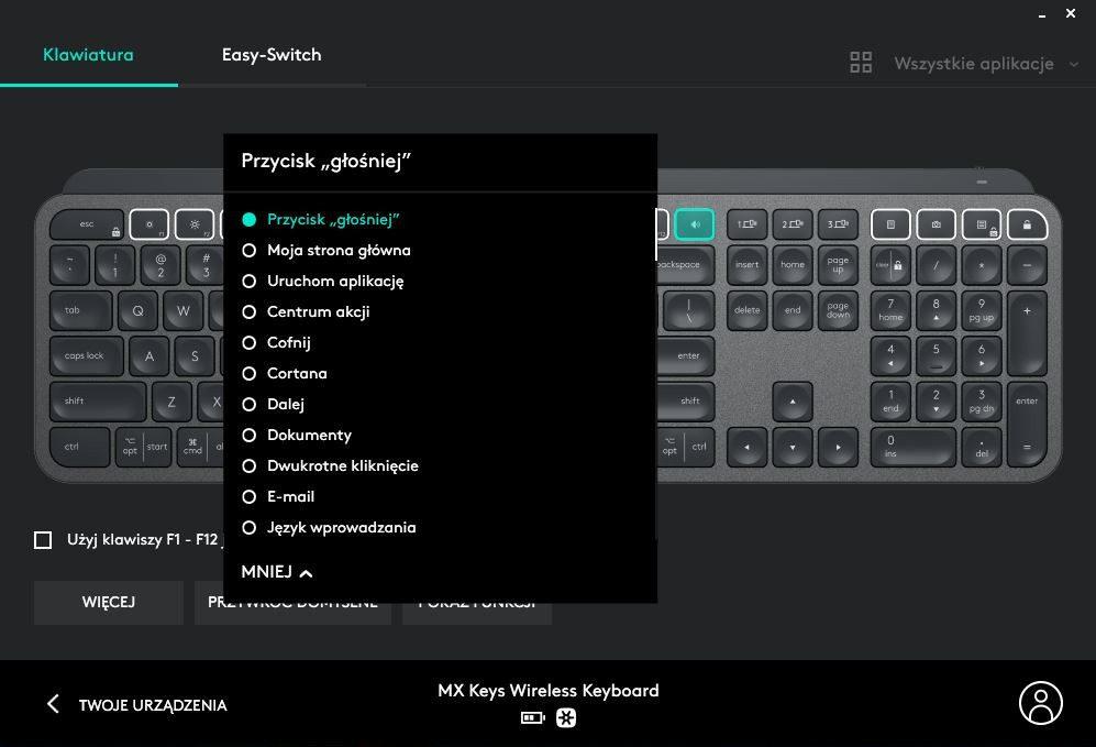 Logitech Options strona główna klawiatury i zmiana przycisków w oprogramowaniu