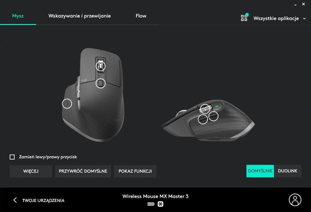 Logitech Options główna strona myszki MX Master 3