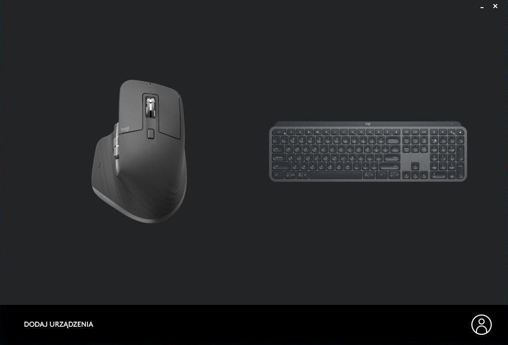 Logitech Options strona po podłączeniu myszki i klawiatury w oprogramowaniu