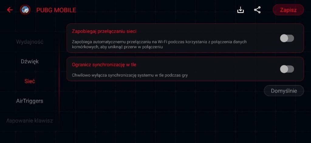 Zrzut ekranu z ASUS ROG Phone II Armoury Crate