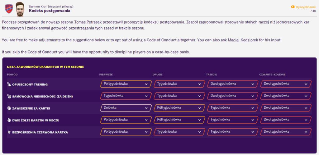 Football Manager 2020 kodeks postępowania