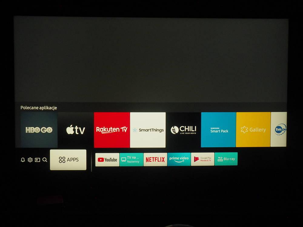 aplikacje dostępne w trybie smart telewizora samsung 49ru8002