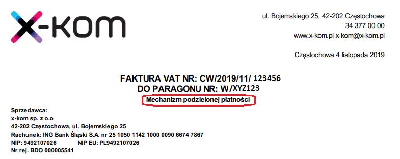 faktura vat x-kom split payment