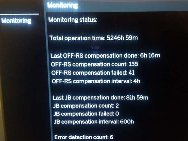 informacje o statusie telewizora OLED