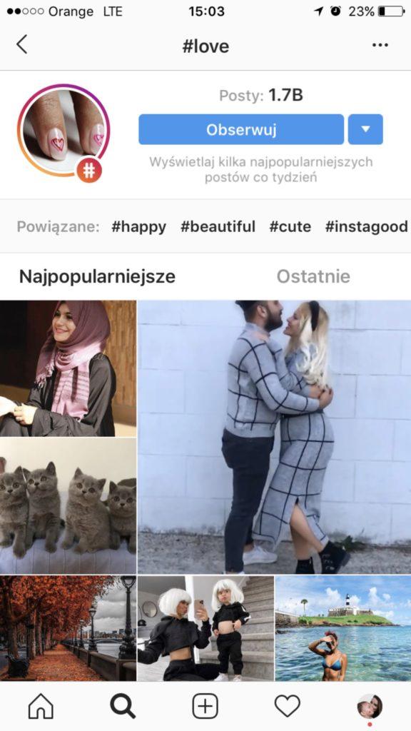 hasztag love na instagramie