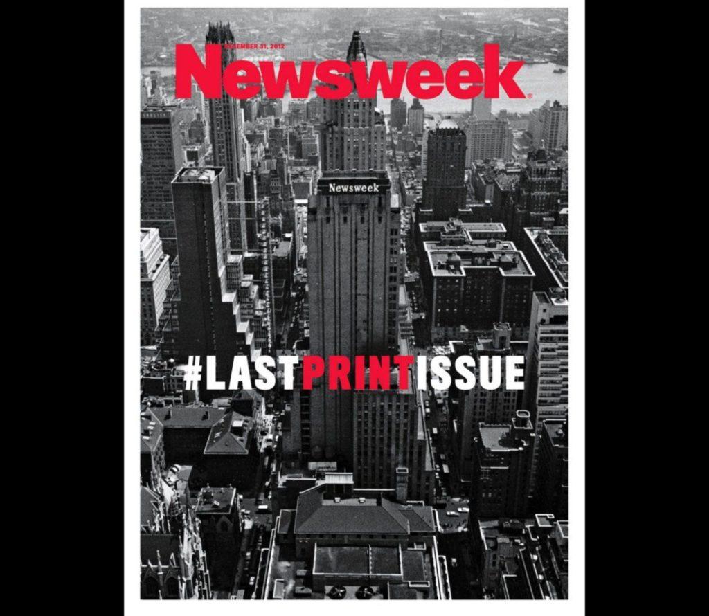 ostatnia okładka papierowej wersji newsweek
