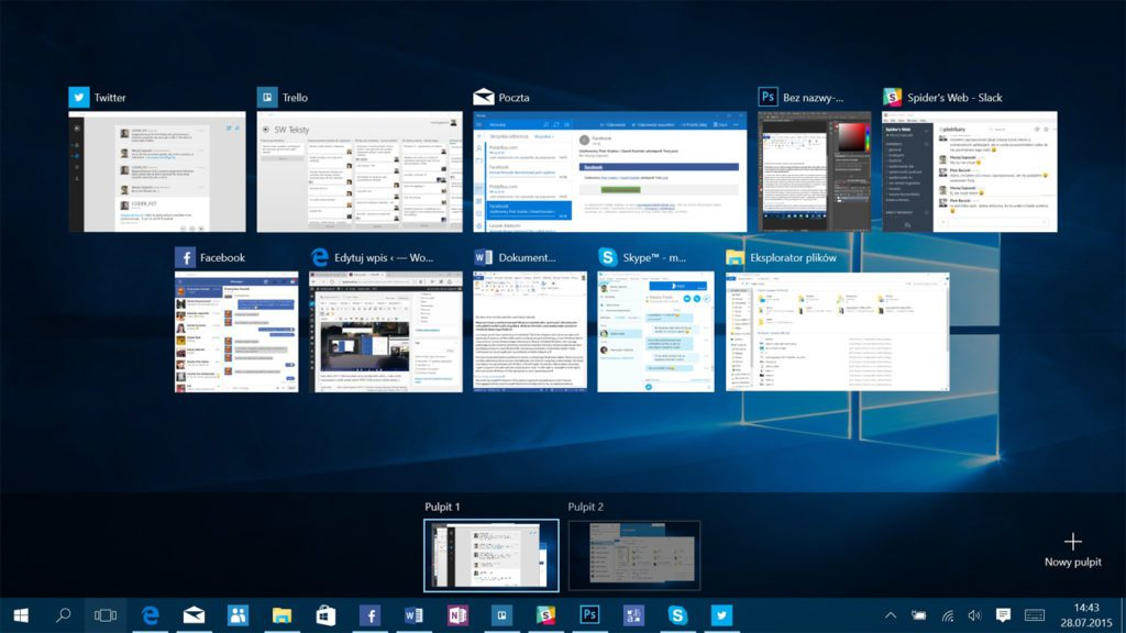 System Windows 10 pulpit