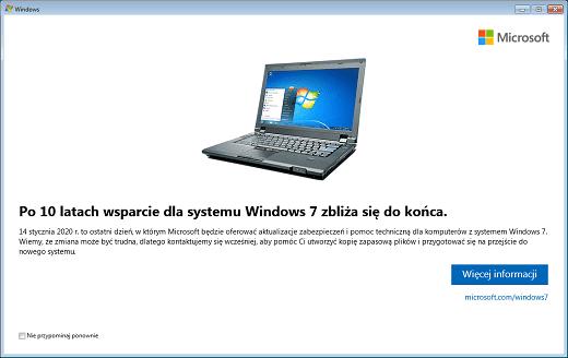 Powiadomienie o wyłączeniu wsparcia dla Windows 7