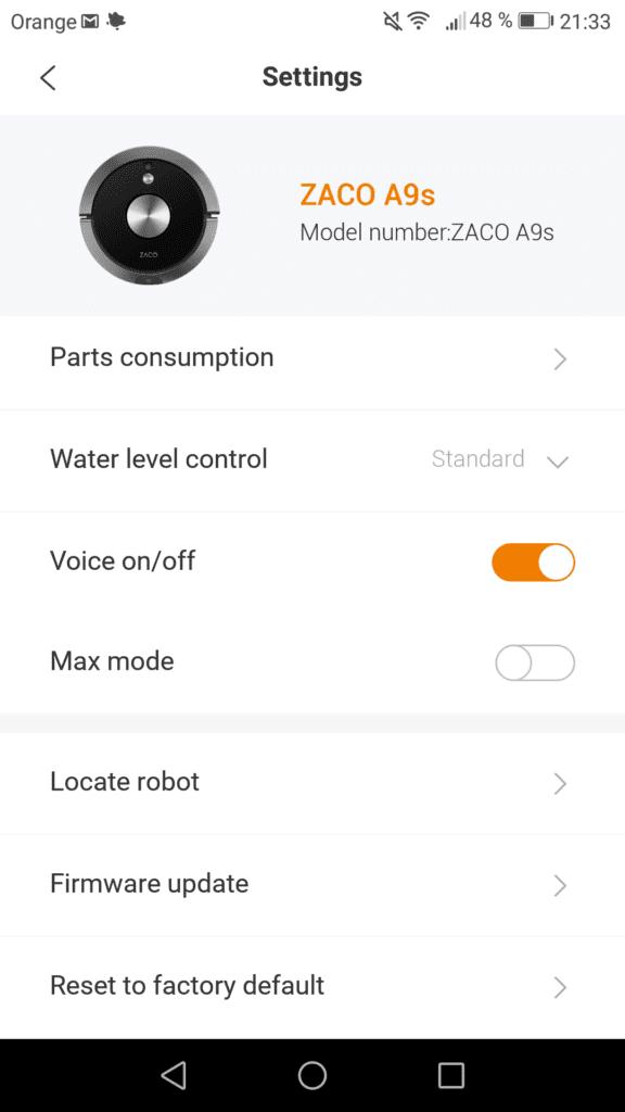 aplikacja robota sprzątającego zaco a9s