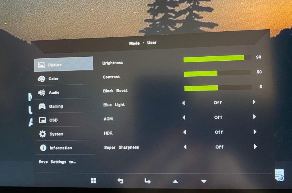 Acer ProDesigner PE270K ustawienia