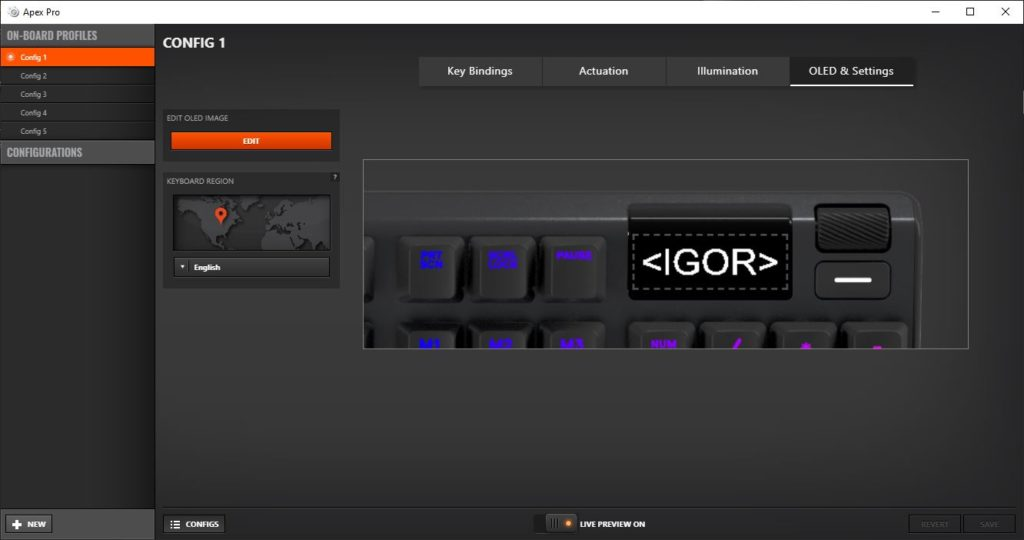 SteelSeries Engine ustawienia ekranu OLED edycja loga