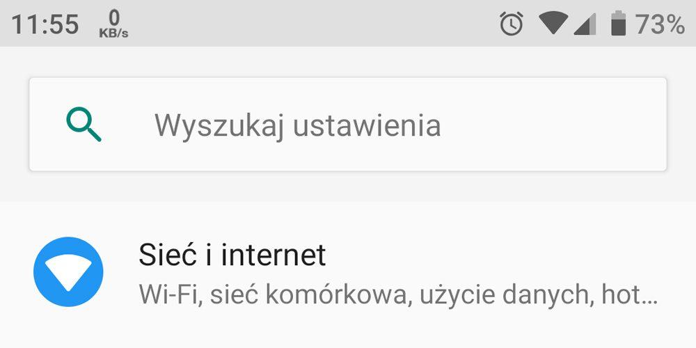 wyszukiwarka ustawień android