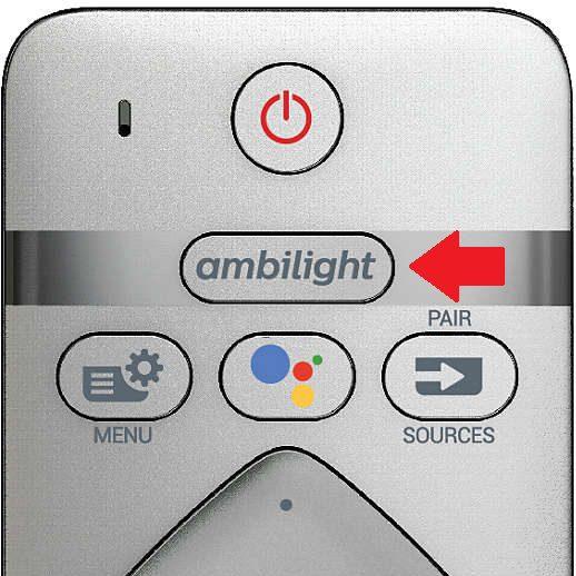 przycisk do włączania ambilightu na pilocie