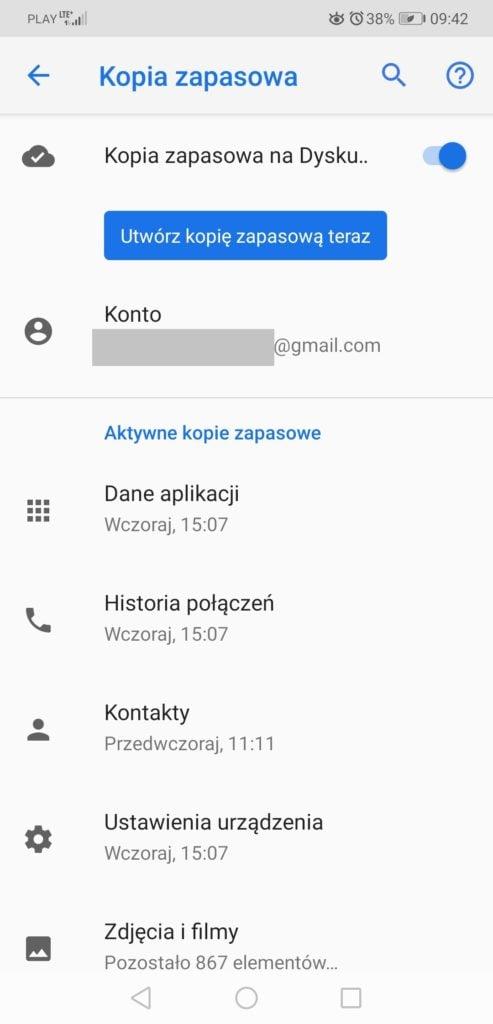 Synchronizacja w Google One